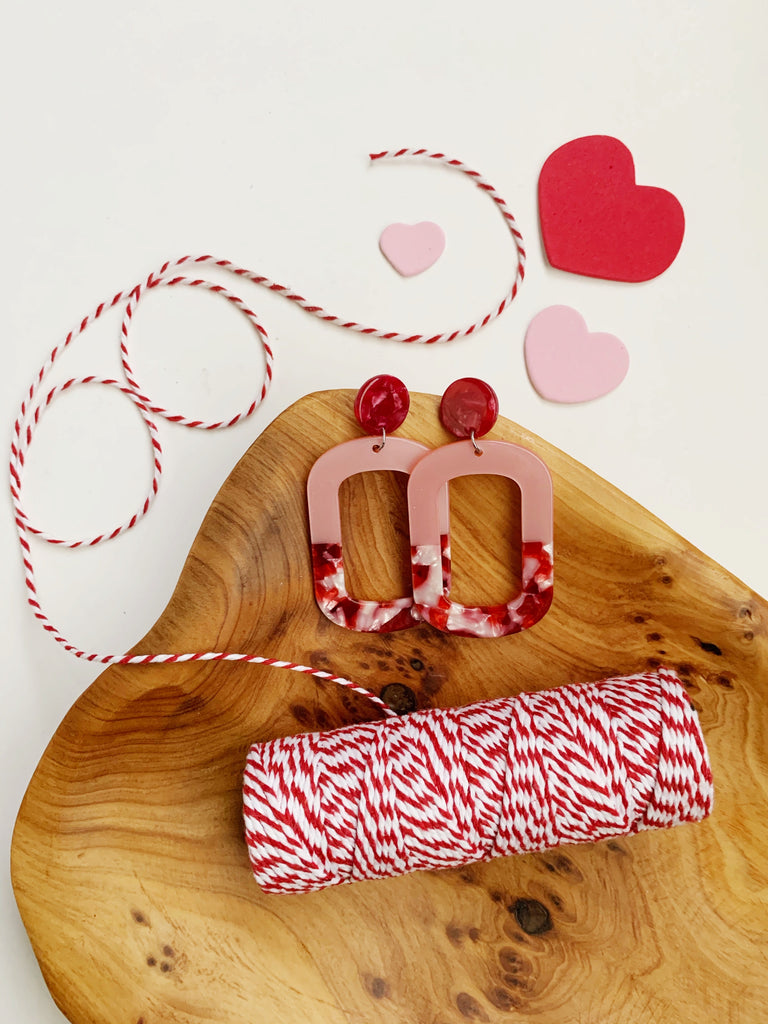Earrings of the week in Valentine Pink and Red Acrylic