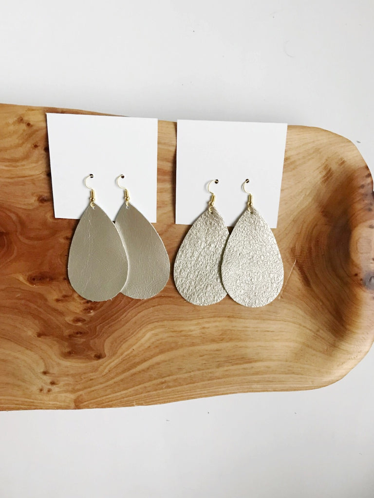 Leather teardrop earrings in Smooth Champagne and Metallic Champagne