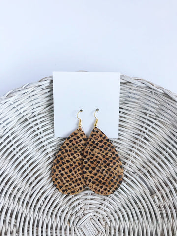 Cork earrings in Snakeskin