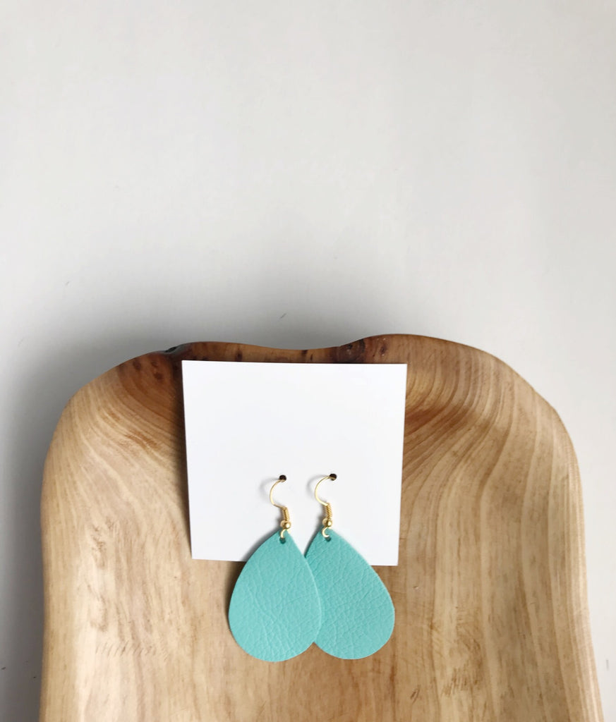 Leather teardrop earrings in Teal