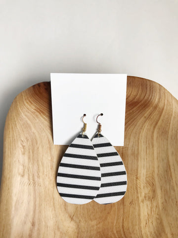 Leather teardrop earrings in Black and White Stripe