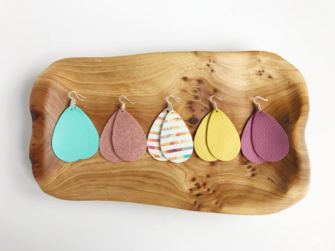 Leather teardrop earrings in Spring Collection