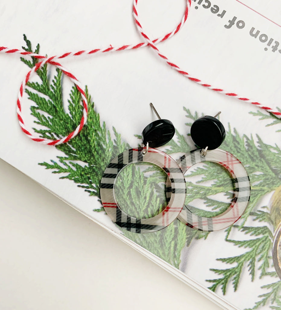 Earrings of the week in Holiday Plaid Circle Acrylic earrings