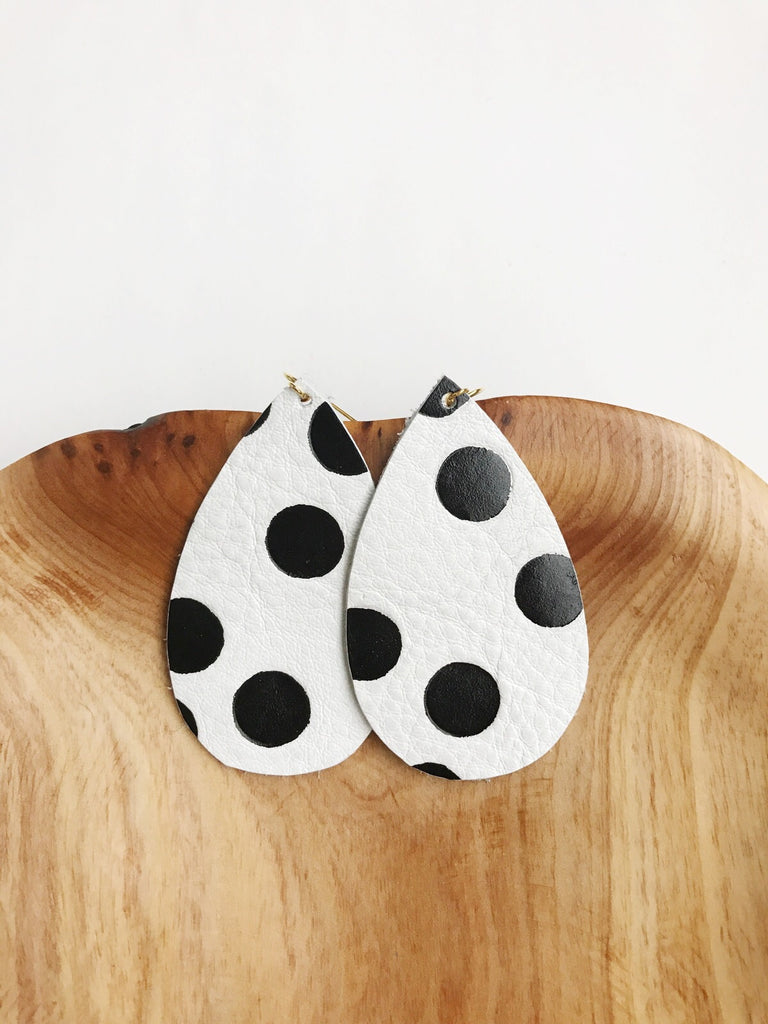 Leather teardrop earrings Black and White Polka Dot