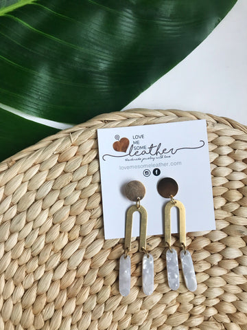 Earrings of the week in Brass and White Acrylics