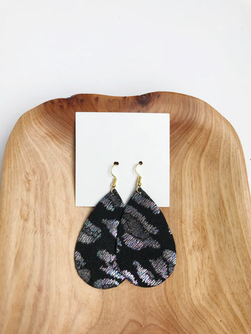 Leather teardrop earrings in Back in Black