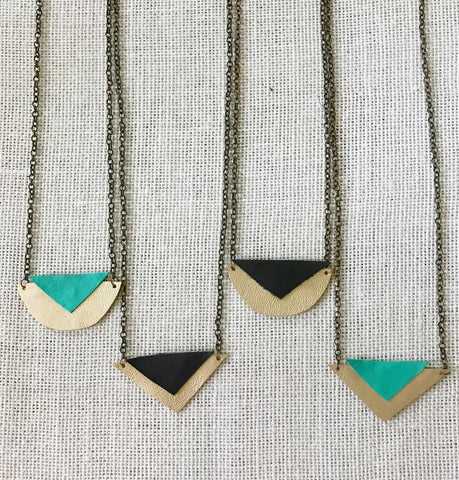 Leather geometric necklaces