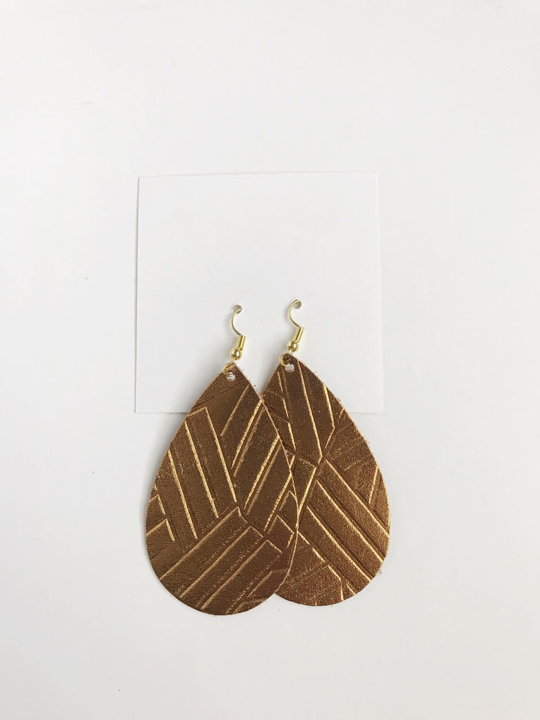 Leather teardrop earrings in Bronze Geo