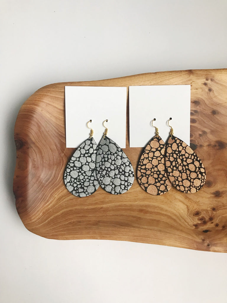 Leather teardrop earrings in Pop Open the Bubbly