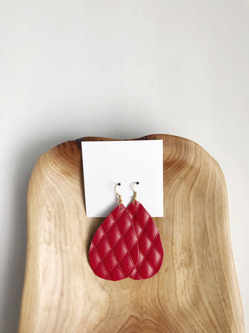 Leather teardrop earrings in Quilted Red