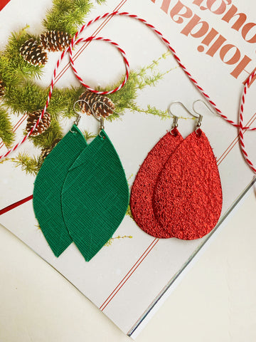 Earrings of the week in Holiday Red and Green
