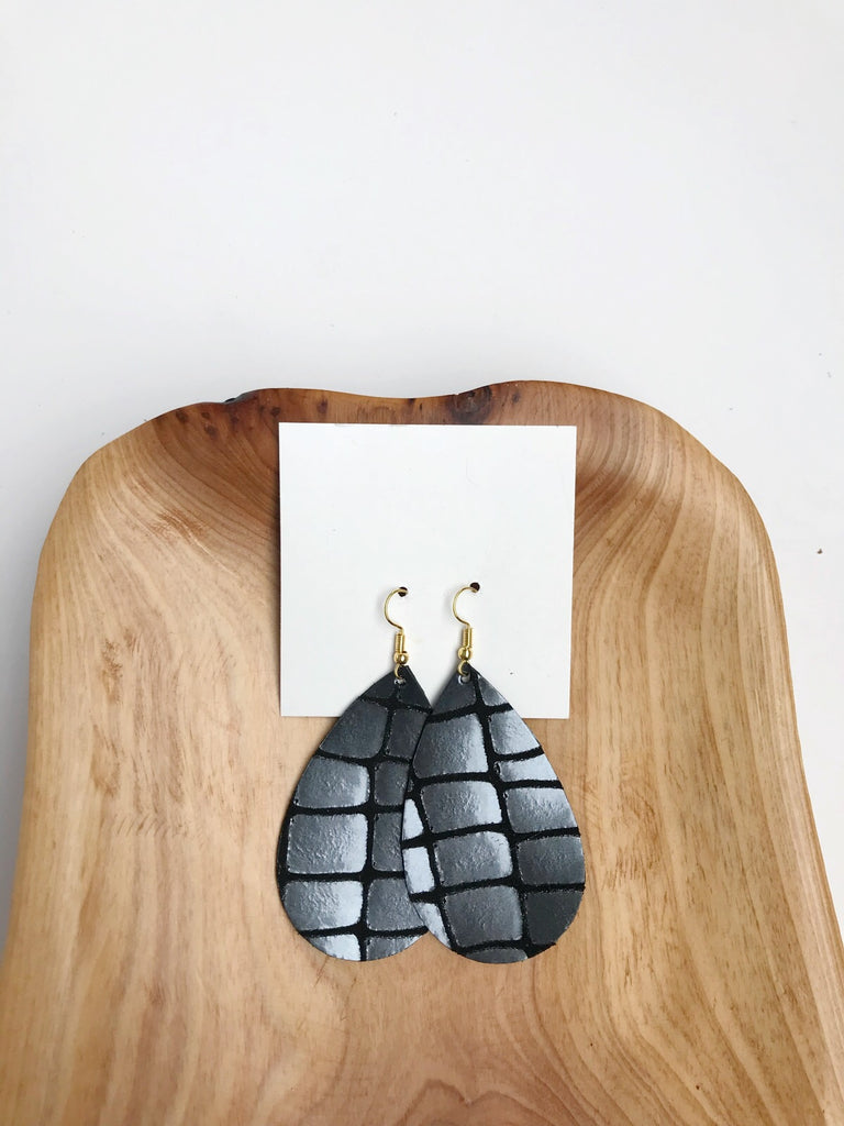 Leather Teardrop Earrings in Gunmetal Glam