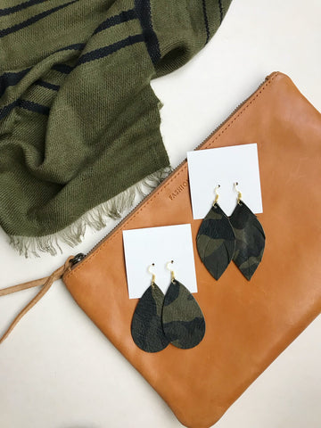 Leather Teardrop Earrings in Camo