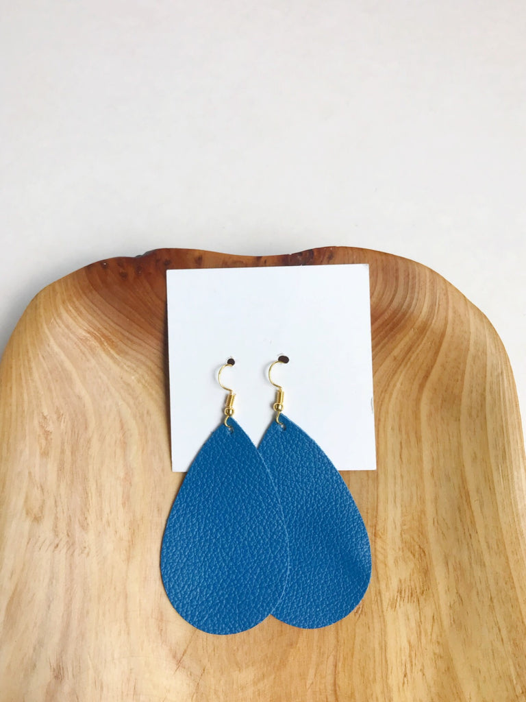 Leather teardrop earrings in American Blue
