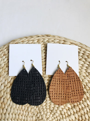 Leather teardrop earrings in Braided Black and Braided Tan