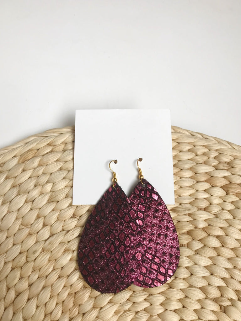 Leather teardrop earrings in Cranberry Shimmer