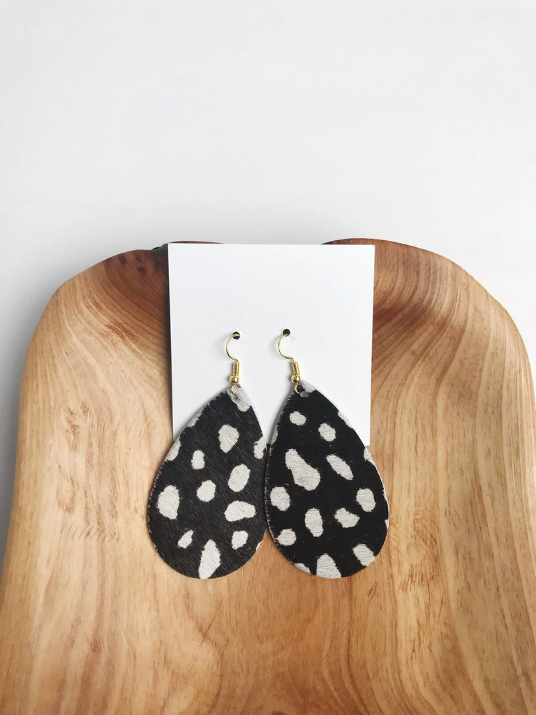 Leather Hair On earrings in Black Leopard