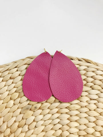 Leather teardrop earrings in Hot Pink