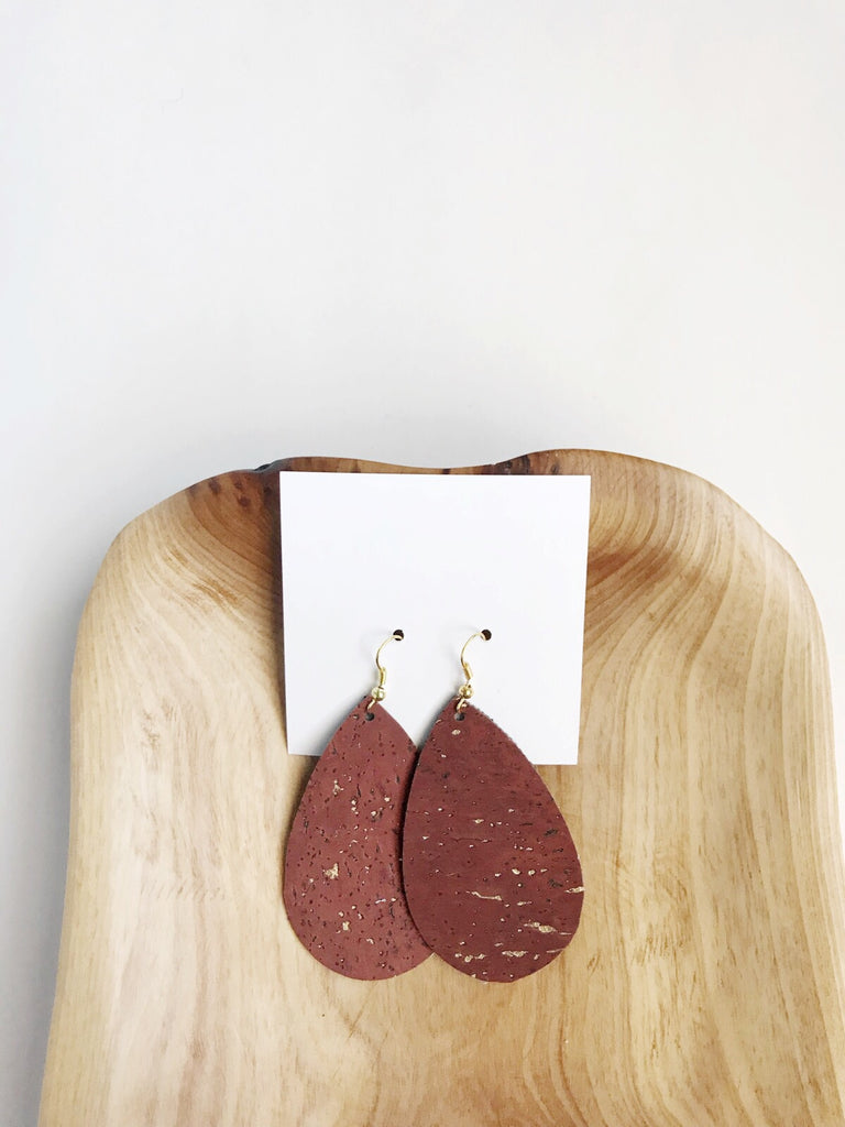 Cork earrings in Brick Red