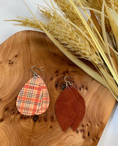 Earrings of the week in My Plaid or Yours and Cinnamon Suede
