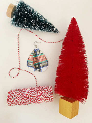 Earrings of the week in Holiday Plaid