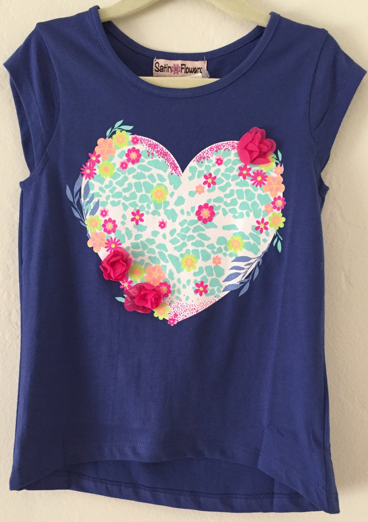 Girls Heart Tee with 3D Flowers