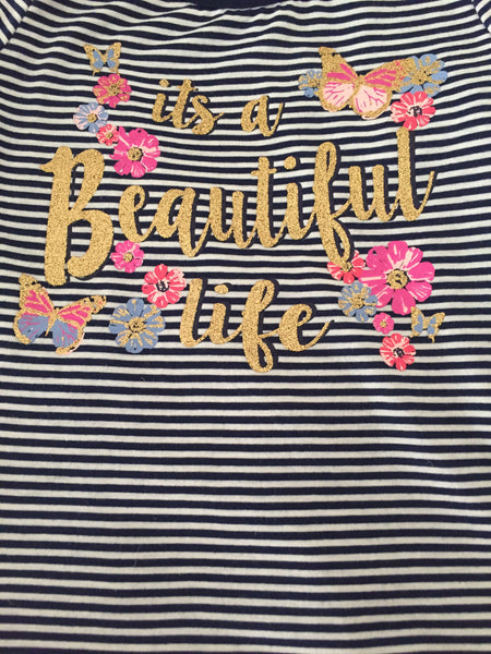 "Girls Striped Cold Shoulder ""It's a Beautiful Life"" Shirt"