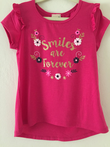 "Girls ""Smiles are Forever"" Graphic Tee Shirt"