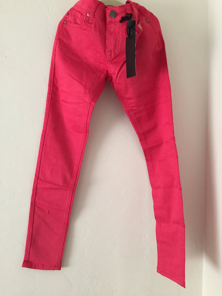Girls Fashion Coral Colored Denim