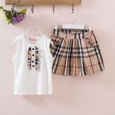 Katerina Ruffle Tee with Plaid Skirt Set