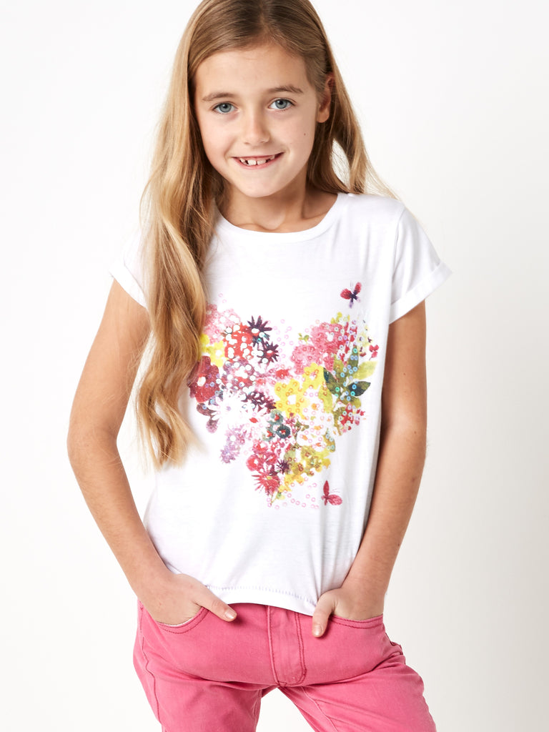 Girls Floral Heart Elevated T-shirt