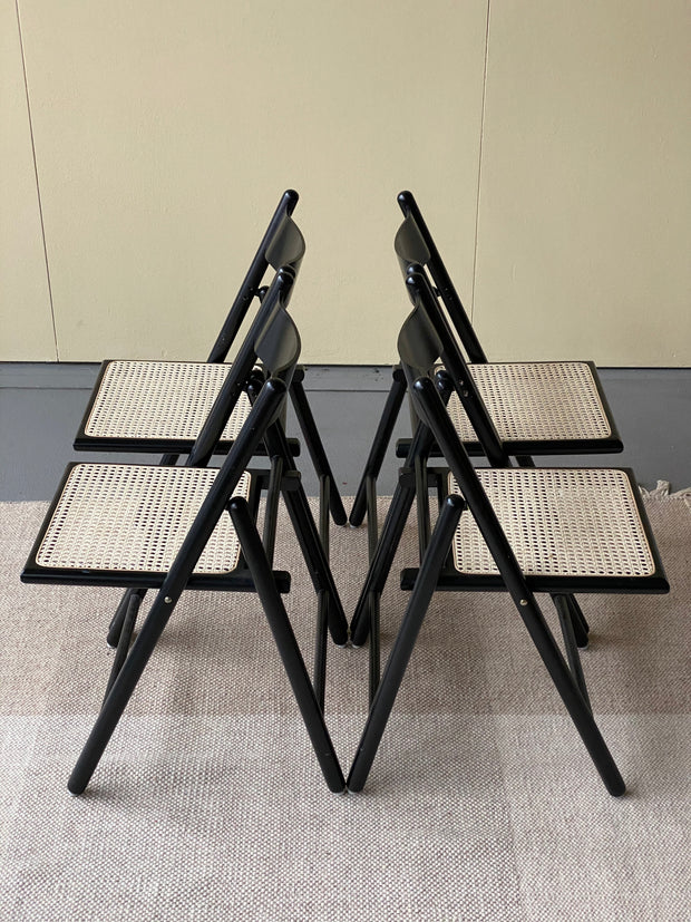 Black Folding Chair with Cane