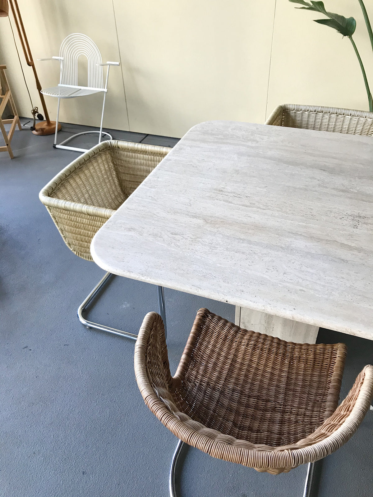 Travertine Dining Table, 1970s