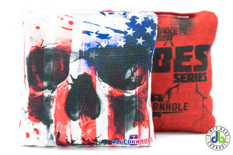 All Slides - American Cornhole Bags - USA Flag Skull (Half Set)