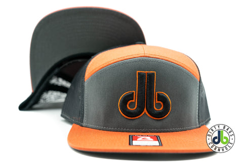 Orange 7 Panel DB hat
