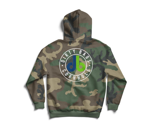 Camouflage Pullover Hoodie - blue and green db logo