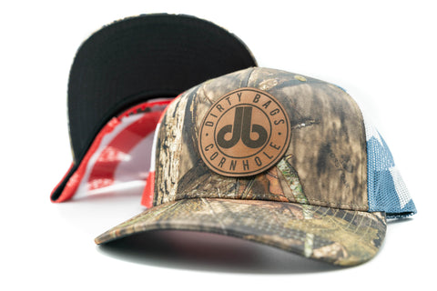 db Leather Patch Hat  - Wooded Camouflage and USA Flag