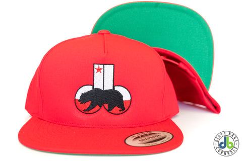 db hat - Red CA db Flat Bill