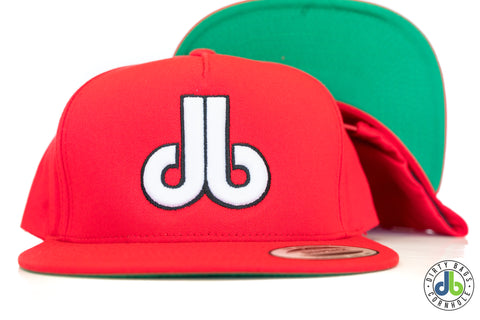 db hat - Red Flatbill with white db