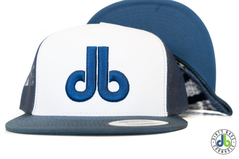 db hat - White and Navy Blue
