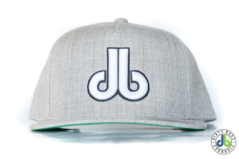 db hat - Heather Gray and White