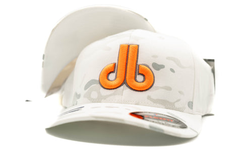 Neon Orange db on White Camouflage Hat