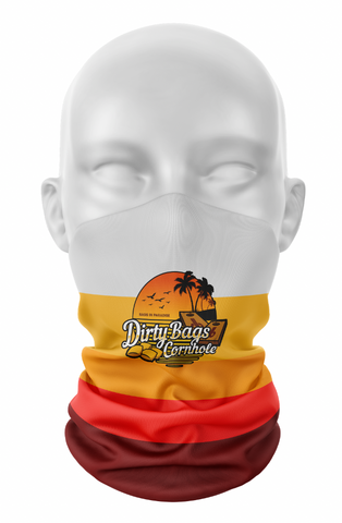 "Dirty Bags Cornhole Gaiter- ""Bags in Paradise"" (orange)"