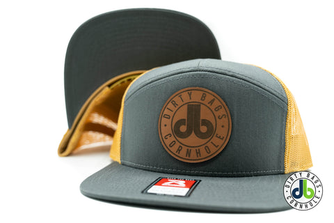 db Leather Patch Hat  - Gray and Gold