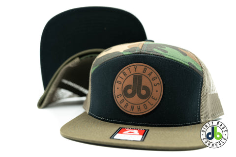 db Leather Patch Hat  - Camo 7 Panel
