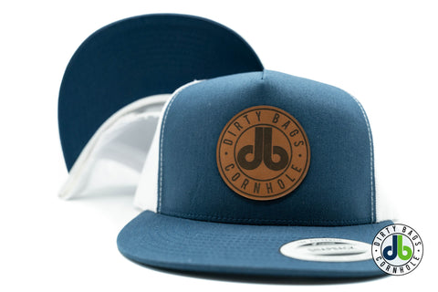 db Leather Patch Hat  - Navy Blue and White Mesh