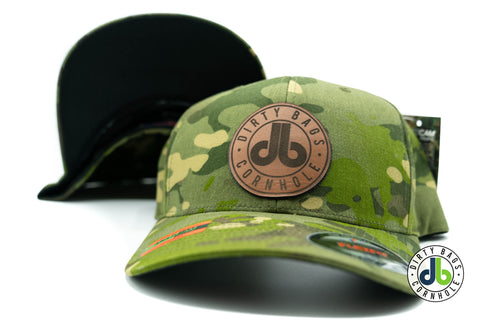 db Leather Patch Hat  - Green Camouflage Flexfit