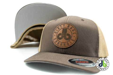 db Leather Patch Hat  - Brown and Tan Flexfit
