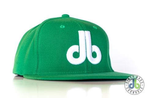 db hat - kelly green and white