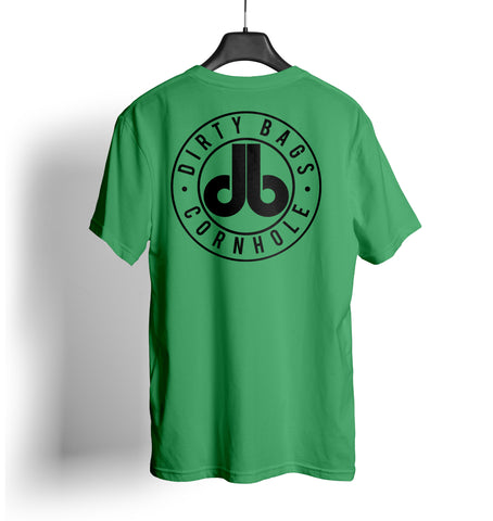 Dirty Bags Cornhole T Shirt Kelly Green and Black